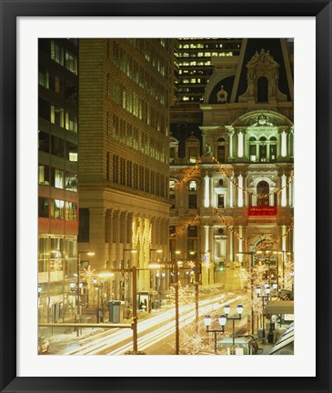 Framed Building lit up at night, City Hall, Philadelphia, Pennsylvania, USA Print