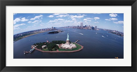 Framed Bird's Eye View of the Statue of Liberty Print