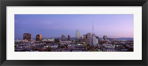 Framed Aerial View Of The City At Dusk, Phoenix, Arizona, USA Print