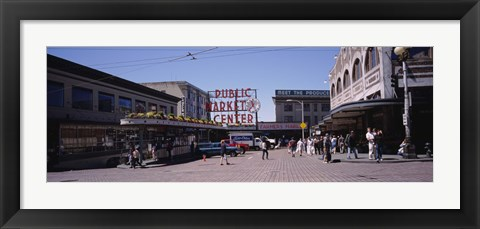 Framed Group of people in a market, Pike Place Market, Seattle, Washington State, USA Print