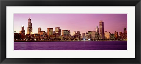 Framed Skyline At Sunset, Chicago, Illinois, USA Print