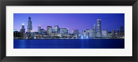 Framed Bright Blue View of Chicago from the Water Print