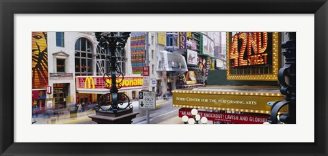 Framed Road running through a market, 42nd Street, Manhattan, New York City, New York State, USA Print