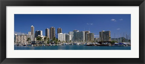 Framed Honolulu, Hawaii Skyline Print