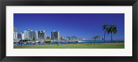 Framed Honolulu, Hawaii Waterfront Print