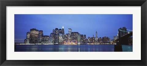 Framed New York Ciry at Night with Bright Blue Sky Print