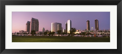 Framed Marina Park And Skyline At Dusk, San Diego, California, USA Print