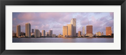 Framed Waterfront And Skyline At Dusk, Miami, Florida, USA Print