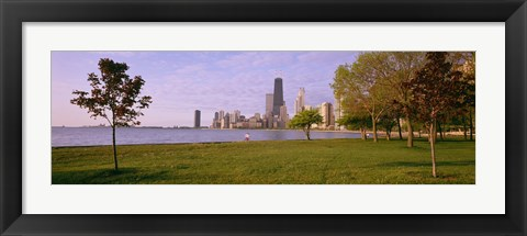 Framed Trees in a park with lake and buildings in the background, Lincoln Park, Lake Michigan, Chicago, Illinois, USA Print