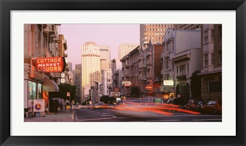 Framed USA, California, San Francisco, Evening Traffic Print