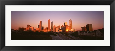 Framed Sun reflecting off skyscrapers in Atlanta, Georgia, USA Print