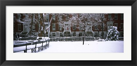 Framed Washington Square Park in the snow, Manhattan Print