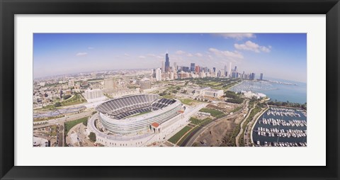 Framed Aerial view of a stadium, Soldier Field, Chicago, Illinois Print