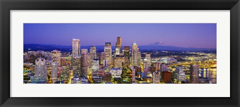 Framed Seattle Lit up, Washington State Print