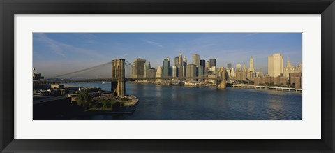 Framed Bridge Across A River, Brooklyn Bridge, NYC, New York City, New York State, USA Print
