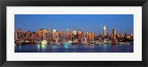Framed Panoramic View of New York City from the Water at Night Print