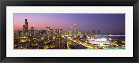 Framed Pink and Purple Sky Over Chicago at Night Print