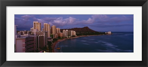 Framed High Angle View Of Buildings On The Beach, Waikiki Beach, Oahu, Honolulu, Hawaii, USA Print
