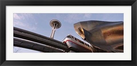 Framed Low Angle View Of The Monorail And Space Needle, Seattle, Washington State, USA Print