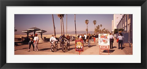Framed People Walking On The Sidewalk, Venice, Los Angeles, California, USA Print
