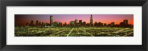Framed USA, Illinois, Chicago, High angle view of the city at night Print