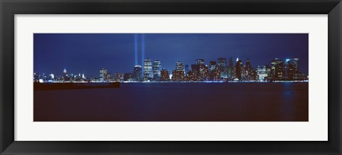 Framed Lower Manhattan, Beams Of Light, NYC, New York City, New York State, USA Print