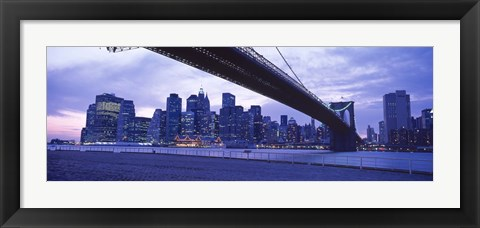 Framed Brooklyn Bridge and New York City Skyline Print