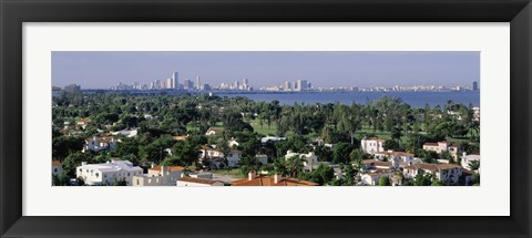 Framed High Angle View Of The City, Miami, Florida, USA Print