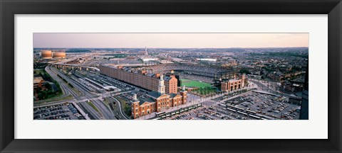 Framed Aerial view of a baseball field, Baltimore, Maryland, USA Print