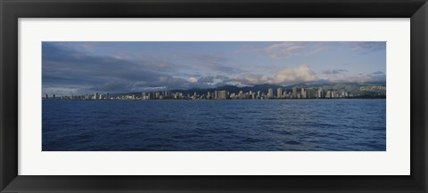 Framed Honolulu skyline on a cloudy day, Hawaii Print
