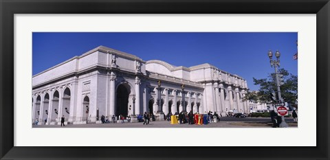 Framed USA, Washington DC, Tourists walking in front of Union Station Print