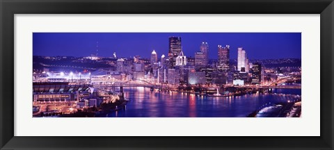 Framed USA, Pennsylvania, Pittsburgh at Dusk Print
