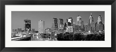 Framed Philadelphia, Pennsylvania Skyline at Night (black and white) Print