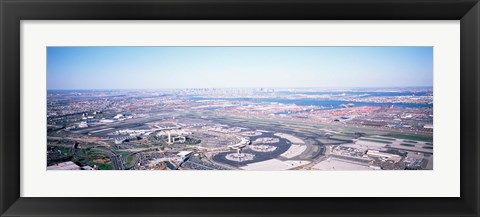 Framed USA, New Jersey, Newark Airport, Aerial view with Manhattan in background Print