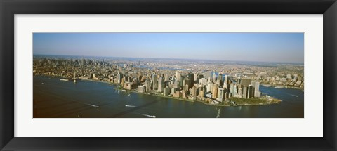 Framed USA, New York, New York City, Aerial view of Lower Manhattan Print