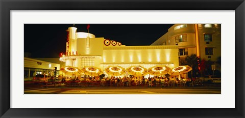 Framed Restaurant lit up at night, Miami, Florida, USA Print