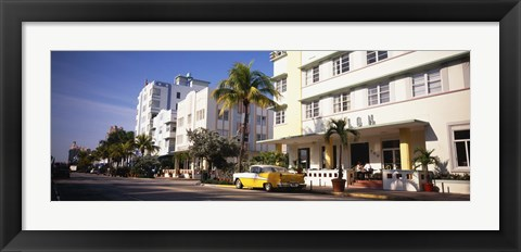 Framed Car parked in front of a hotel, Miami, Florida, USA Print