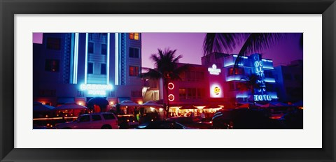 Framed Hotel lit up at night, Miami, Florida, USA Print