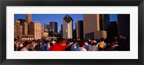 Framed Group of people running a marathon, Chicago, Illinois, USA Print