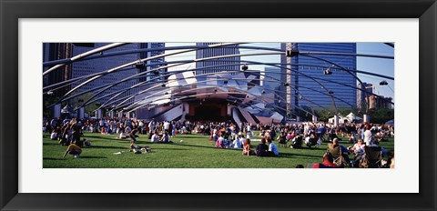 Framed People At A Lawn, Pritzker Pavilion, Millennium Park, Chicago, Illinois, USA Print