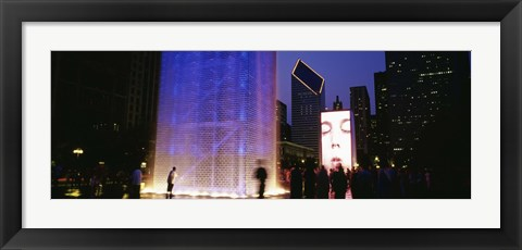 Framed Spectators Watching The Visual Screen, The Crown Fountain, Millennium Park, Chicago, Illinois, USA Print
