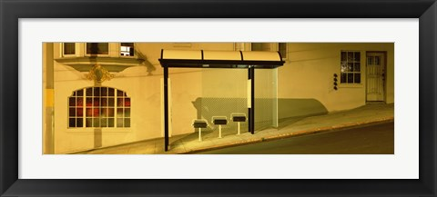Framed USA, California, San Francisco, Bus stop at night Print