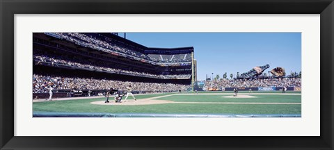 Framed USA, California, San Francisco, SBC Ballpark, Spectator watching the baseball game in the stadium Print