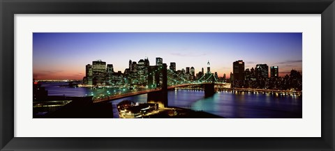 Framed High Angle View Of Brooklyn Bridge, NYC, New York City, New York State, USA Print
