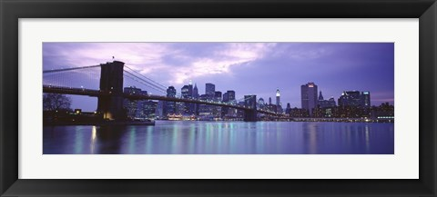 Framed Skyscrapers In A City, Brooklyn Bridge, NYC, New York City, New York State, USA Print