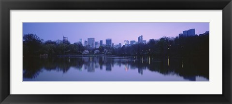Framed USA, New York State, New York City, Central Park Lake, Skyscrapers in a city Print