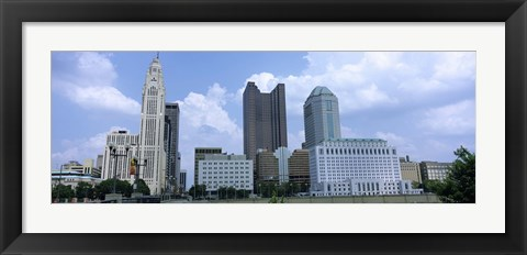 Framed USA, Ohio, Columbus, Clouds over tall building structures Print