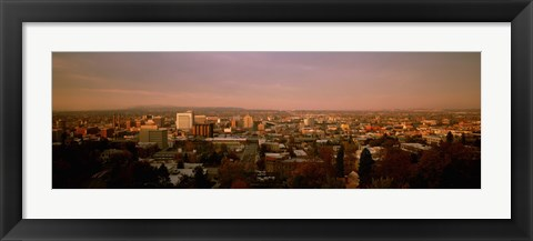 Framed USA, Washington, Spokane, Cliff Park, High angle view of buildings in a city Print