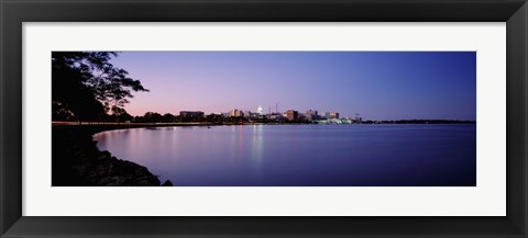 Framed Buildings Along A Lake, Lake Monona, Madison, Wisconsin, USA Print