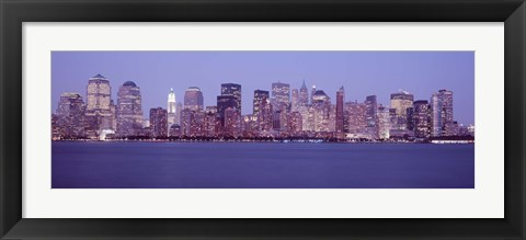 Framed Skyscrapers lit up in Manhattan, New York City Print